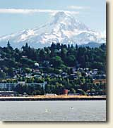 Hood River on the Columbia River with Mount Hood in the background
